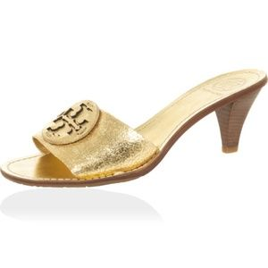 Tory Burch Aerin Metallic Gold Slides Heels Size 9